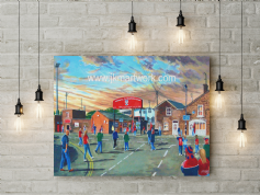 brootham crescent going to the match canvas  a2 size